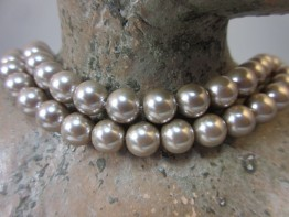 Muschelperlen beige 8mm Strang für Halskette 39,5cm