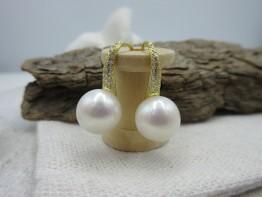 Ohrhänger golden mit Süßwasserperlen 10mm