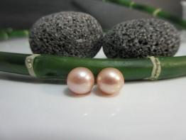 Perlen für Ohrstecker 2 Stück angebohrt 8,5-9mm lachs AAA+