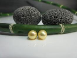 Perlen für Ohrstecker 2 Stück angebohrt 7,0-7,5mm gelb AAA
