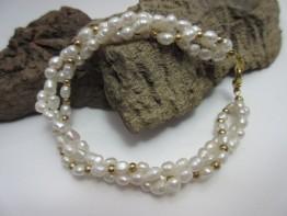 Perlenarmband 3-reihig Saatperlen mit goldenen Zwischenteilen