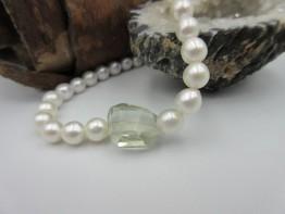 Perlenarmband mit Prasiolith Edelsteine Länge 22cm