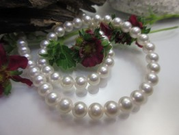 Perlenkette echt, Akoyaperlen Strang sehr gut 6,5-7mm