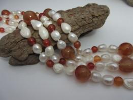 Perlenkette Edelstein 150cm lang mit roten Achaten