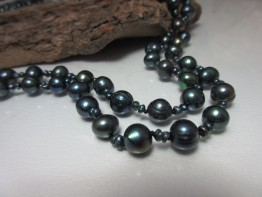 Perlenkette lang, 160cm Perlenkette schwarze barocke Perlen