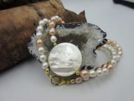Perlenkette 2-farbig mit Perlmuttscheibe Länge 43cm