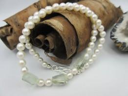 Perlenkette mit Prasiolith Edelsteinen Länge 40cm