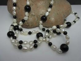 Perlenkette Onyx 150cm lang mit Süßwasserperlen