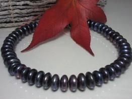 Perlenstrang schwarz, Süßwasserzuchtperlen Linsen 14mm