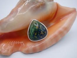 Ring Azurit dreieckig in 925er Silber Größe 56