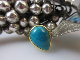 Ring Chrysokoll 925er Silber Größe 55