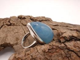 Ring mit Aquamarin 925er Silber Ringgröße 52