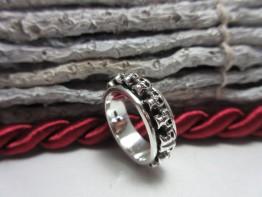 Ring Totenkopf, massiv 925er Silber komplett drehbar