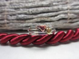 Ring Tricolor, massiv 925er Silber mit beweglichen Herzen