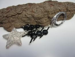 Schlüsselanhänger 925er Silber mit Onyxedelsteinen