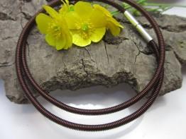 Spiralkette brauner Stahldraht mit 925er Bajonettschließe