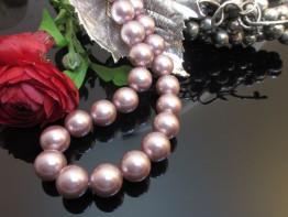 Synthetische Perlen - rosa Muschelkernperlen 14mm Strang 39cm