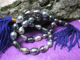 Tahiti Halskette mehrfarbig, echte Tahitiperlen 8-10mm