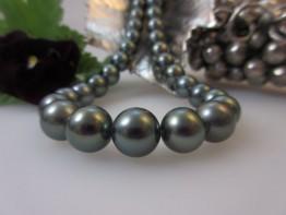 Tahitiperlen Strang 9-11mm, ganz runde Perlen, Modell JZ1