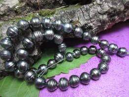Tahitiperlenkette dunkel, gezirkelte Tahitiperlen schwarz 10-11mm