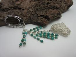 Taschenanhänger 925er Silber mit Türkisen